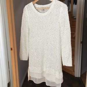 Loft Ann Taylor White Sequin Sweater Tunic Medium